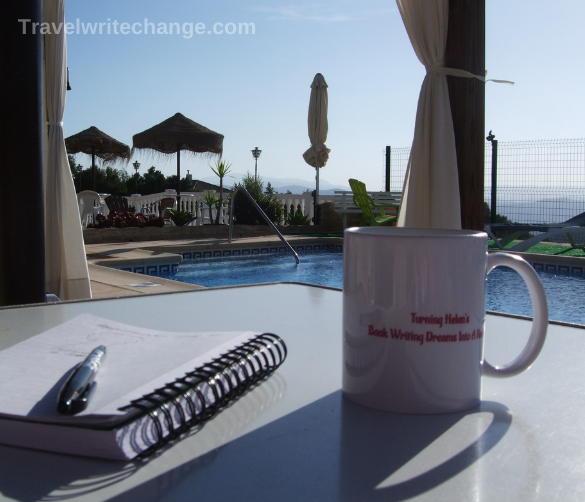 Writing retreat view of swimming pool