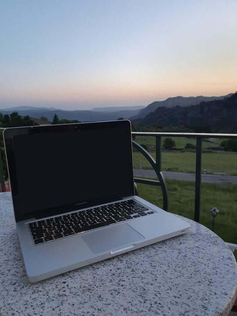 laptop with a view of the Sierra de Cadiz
